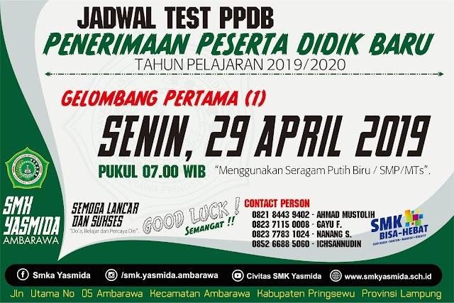 Desain Jadwal Tes PPDB SMK Yasmida Ambarawa Hijau