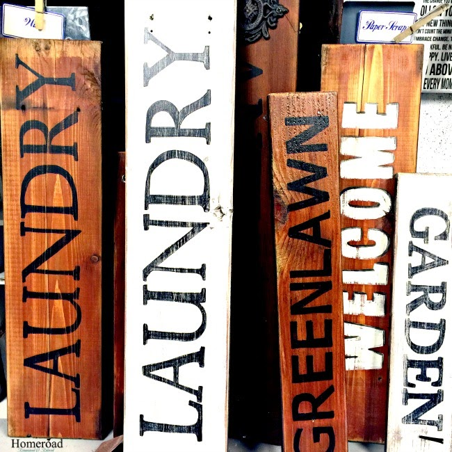 Reclaimed wood signs using old decking www.homeroad.net
