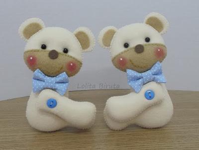 Ursinhos em feltro para decoração