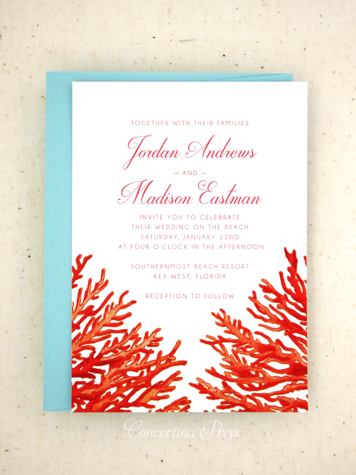 Southernmost Beach Resort Destination Wedding in Key West Florida Invitations