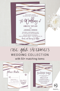 rose gold streamers wedding invitation, purple blush and rose gold song request rsvp postcard, modern bachelorette party invite