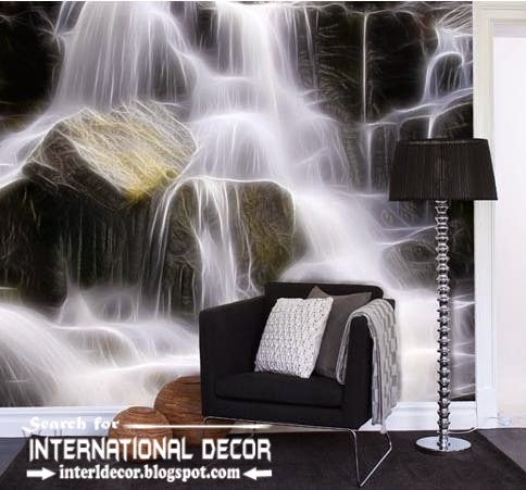 wall murals waterfall wallpaper, wall covering ideas, natural wall mural