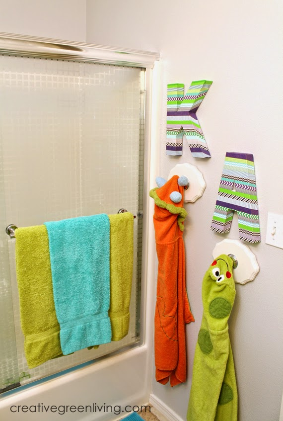 Bathroom Towel Hooks For Young Kids Hometalk How To Make Washi Tape Monograms Creative Green Living