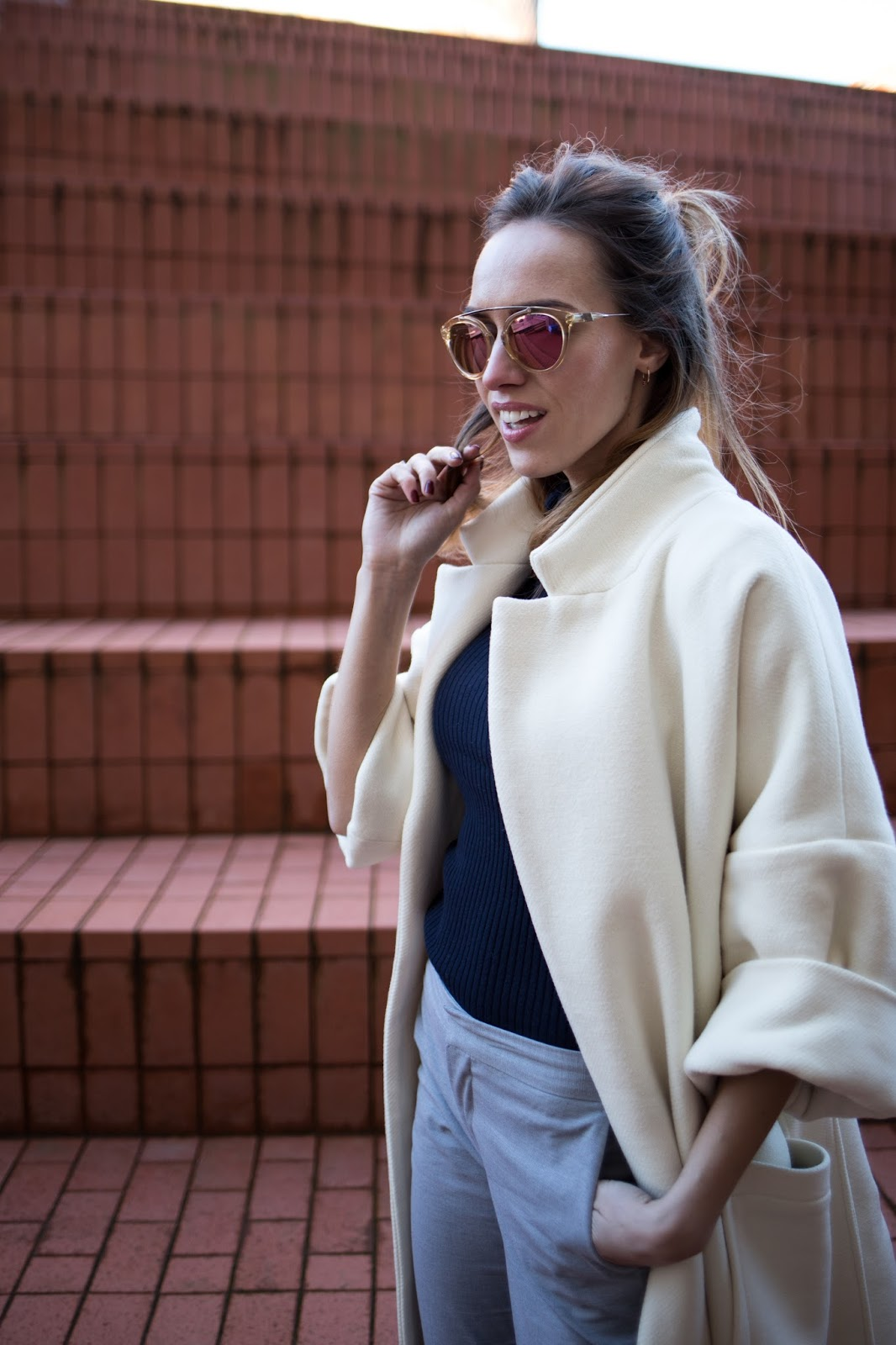 white oversized wool coat fashion