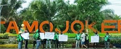 Pengemudi Ojol Mojokerto Protes Pidato Prabowo