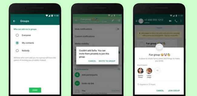 Menu setting undangan grup WhatsApp android