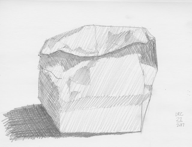 Daily Art 12-22-17 still life sketch in graphite number 80 - paper bag