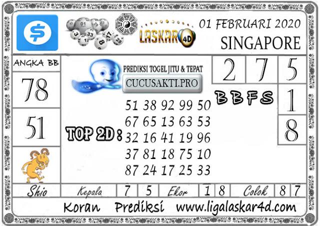 Prediksi Togel SINGAPORE LASKAR4D 01 FEBRUARI 2020