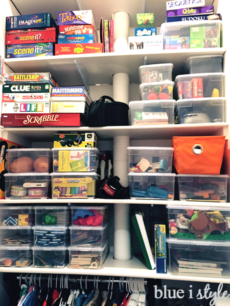Organizing with clear, lidded shoe storage boxes