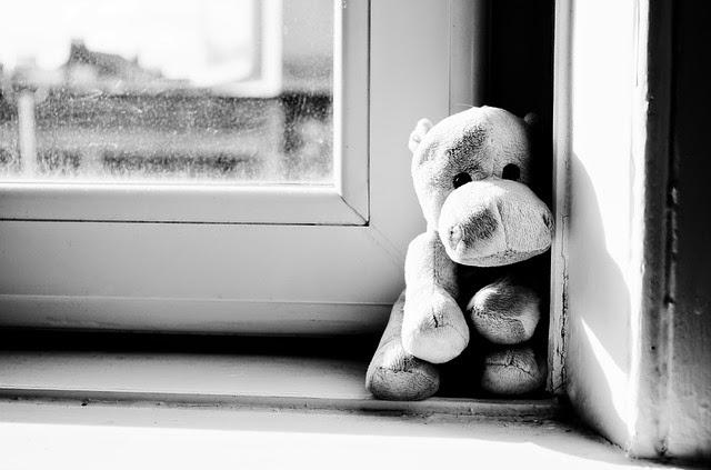Kuscheltier sitzt am Fenster