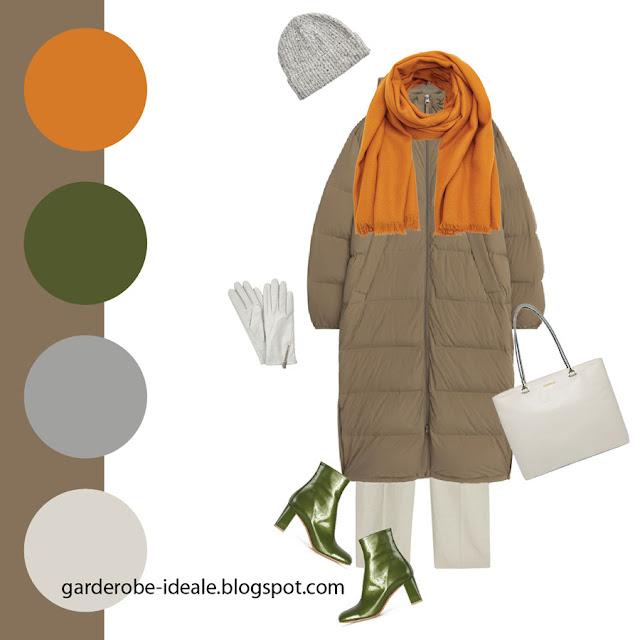 Сочетание серо-коричневого пуховика с оранжевым шарфом и зелеными ботильонами