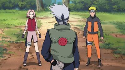 Kakashi vs Naruto y Sakura