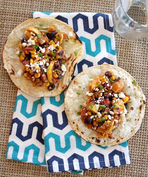 squash and corn tacos