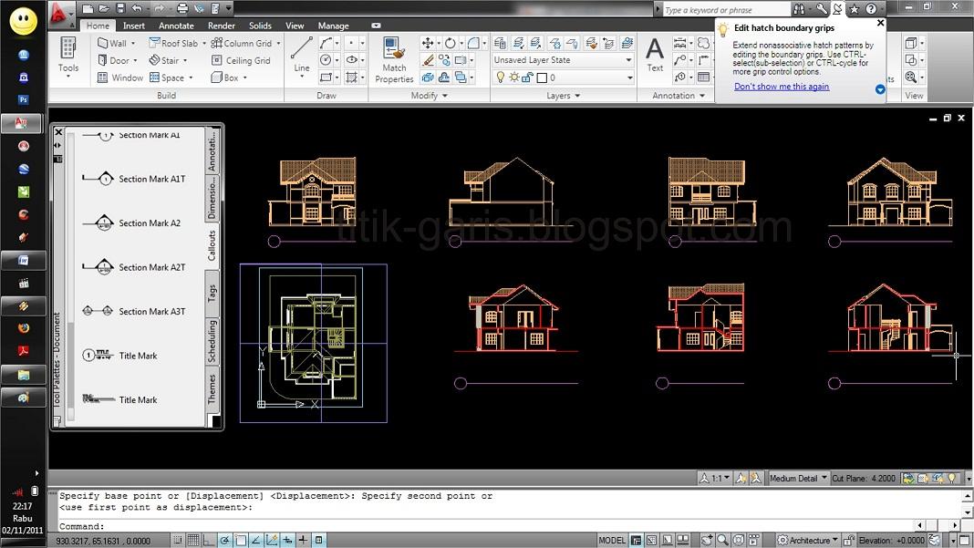 Gambar Desain Rumah Dengan Autocad 2007