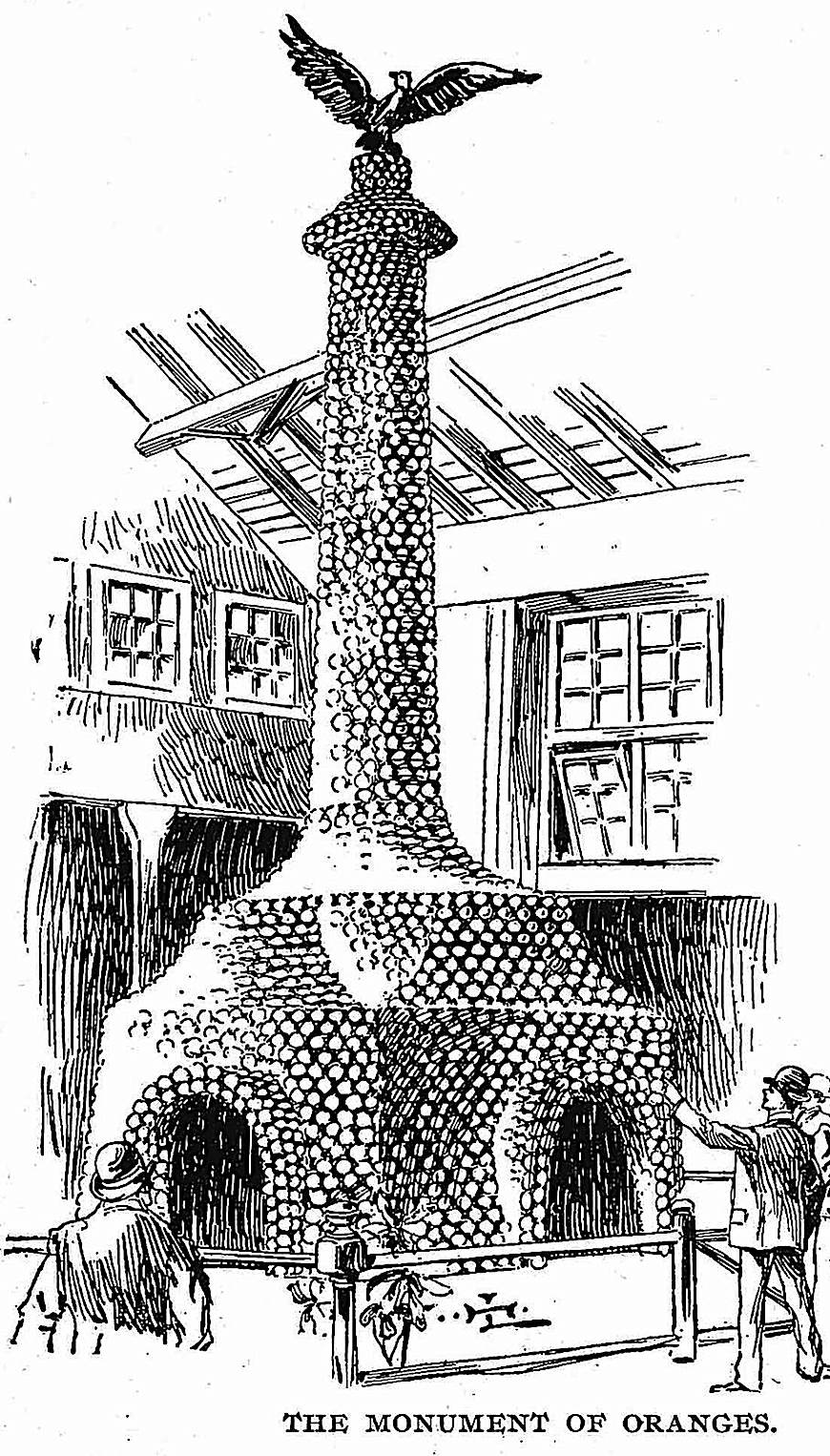 the Monument of Oranges at the 1893 Chicago World's Fair, an illustration