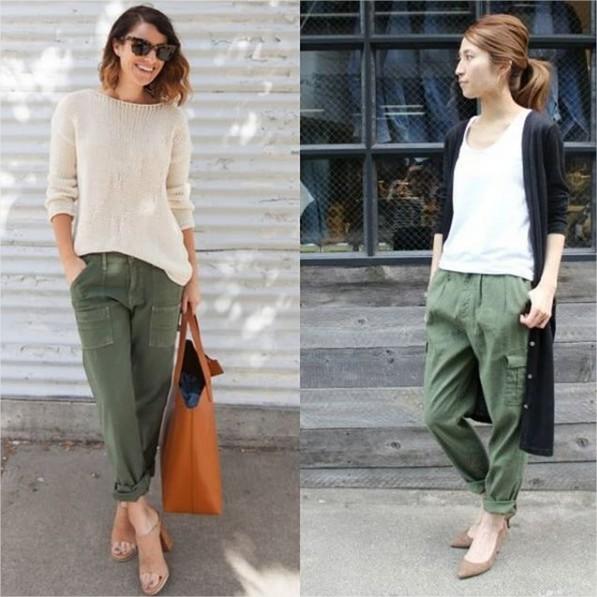 Blog achados de moda - carmen martins consultora de estilo - calça de sarja verde militar feminina