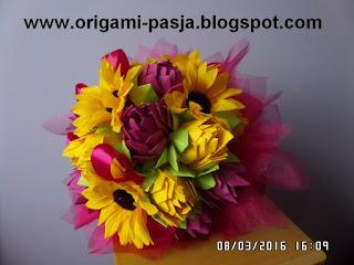 Bukiet, bukiecik, z papieru, kwiaty, amarant, wstążka, organtyna