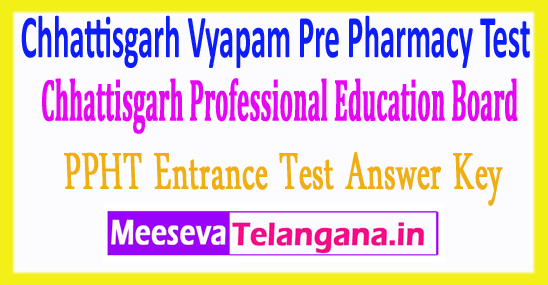 Chhattisgarh Pre Pharmacy Test Vyapam CG PPHT Answer Key 2018 Download