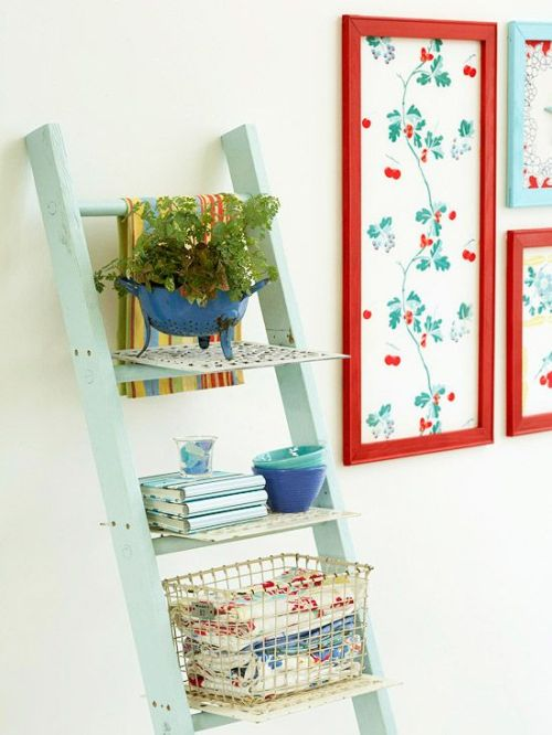 lovely re-used ladder for shelf