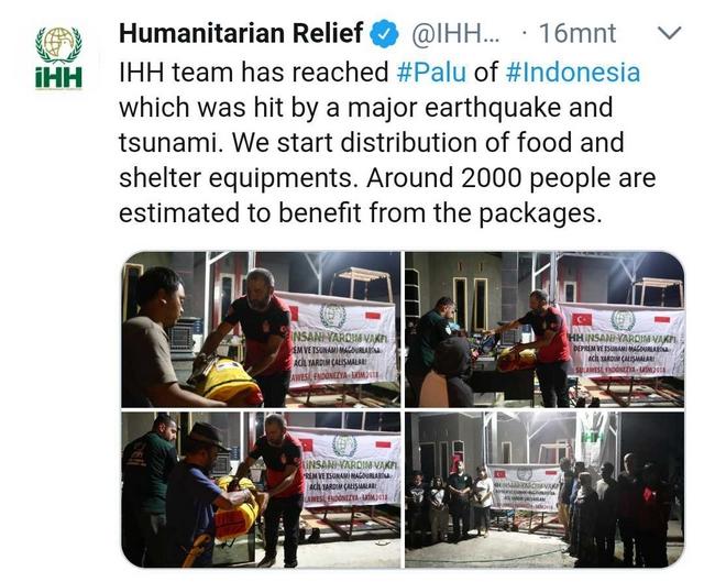 Lembaga Kemanusiaan Turki (IHH) Sudah Sampai di Palu dan Bagikan Bantuan