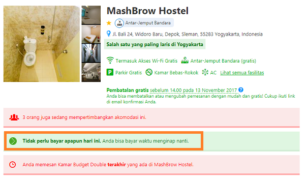 Cara Pesan atau Booking Hotel Online Bayar Ditempat