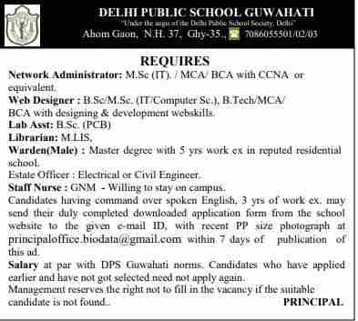 Dehli Public School Guwahati Recruitment 2018