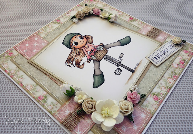 Girly floral birthday card with girl on bike (image is Pedal Power from Time for Tea)