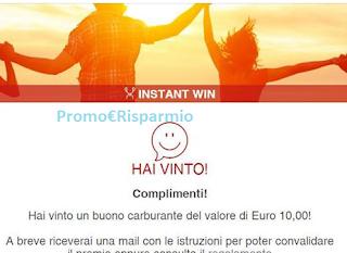 Logo Vince subito gratis un buono carburante da 10 euro