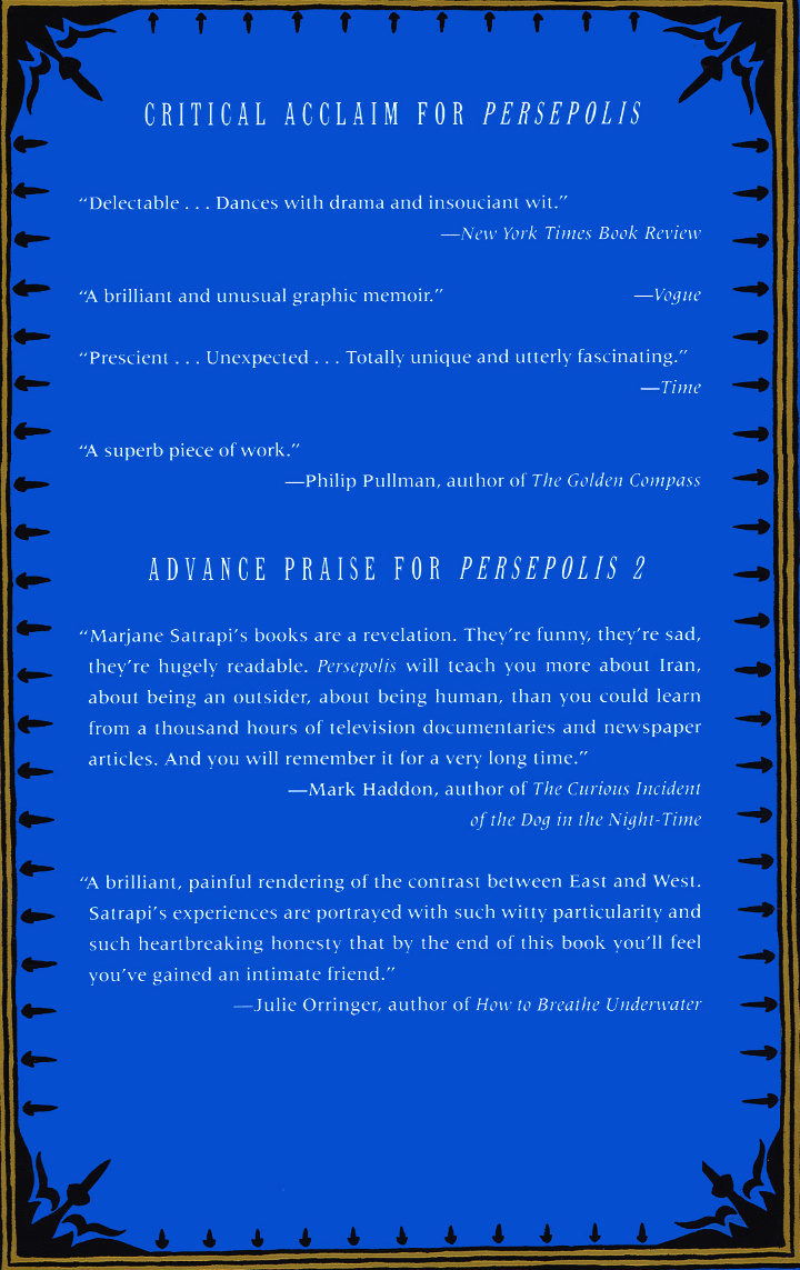 Read Back Cover from Marjane Satrapi's Persepolis 2 - The Story of a Return