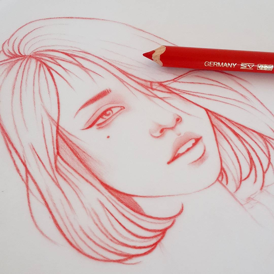 14-Japan-Sketch-WIP-Rik-Lee-Blue-Red-and-Black-Line-Portrait-Sketches-www-designstack-co