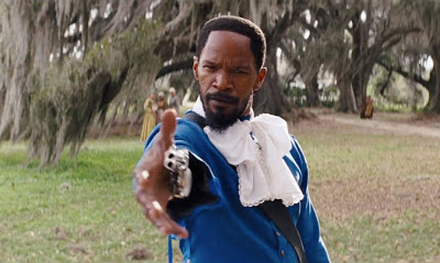Jamie Foxx as Django, dressed as Schultz's valet, kills Brittle bothers, Django Unchained, Directed by Quentin Tarantino