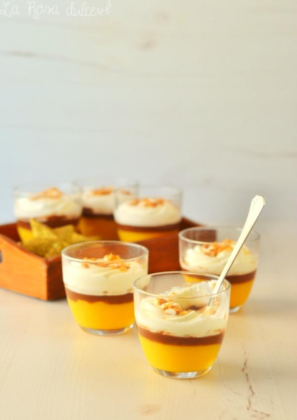 Vasitos de naranja, chocolate y turrón sin lactosa