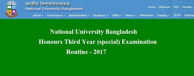 NU Honors Third Year (Special) Examination Routine 2017