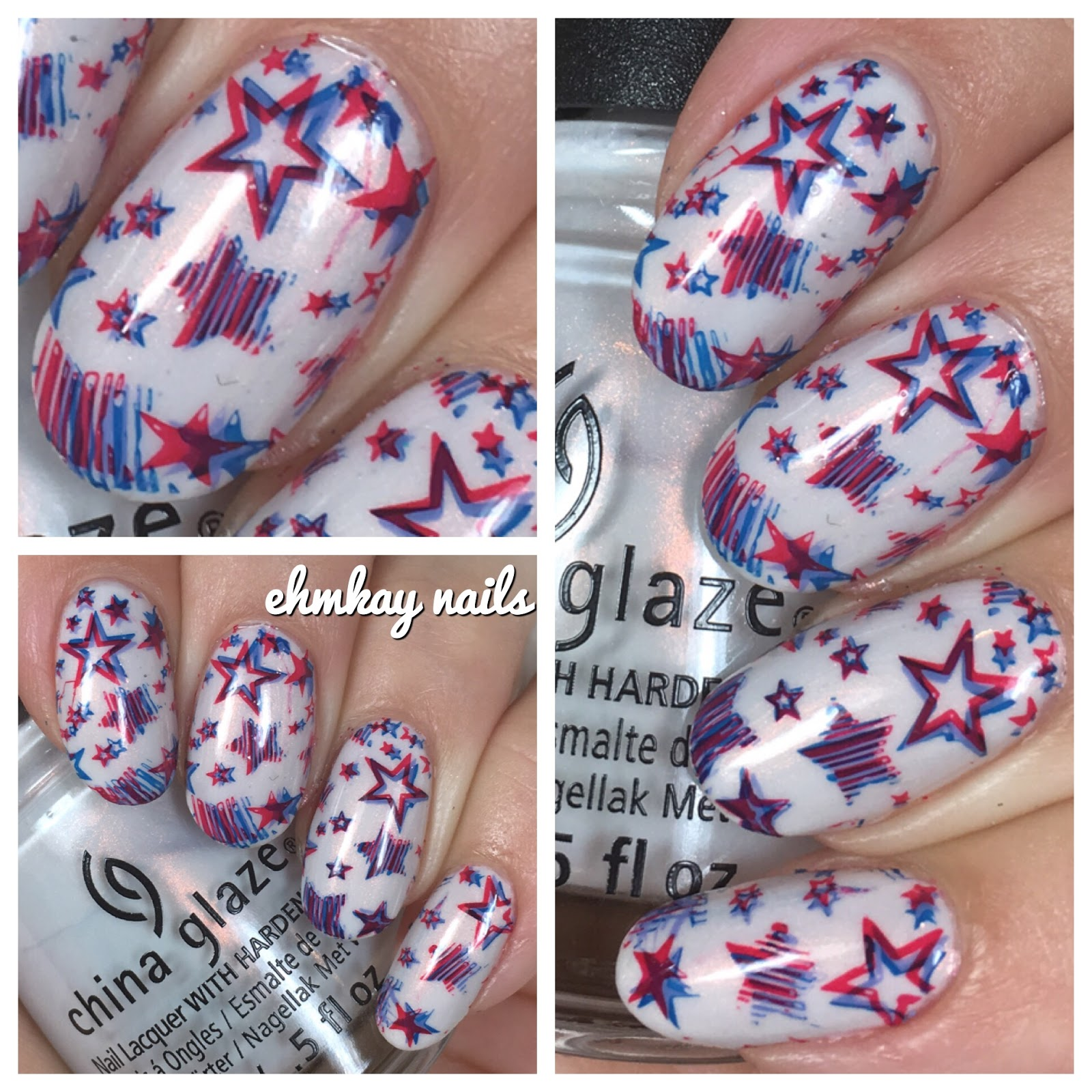 ehmkay nails: Fourth of July Nail Art: 3D Stamped Stars