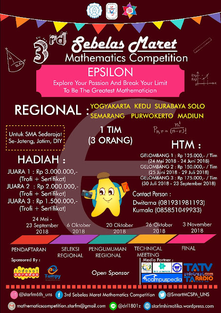 3rd Sebelas Maret Mathematics Competition 2018