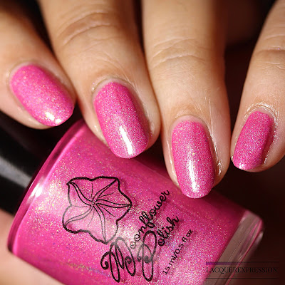 Nail polish swatch of Succulent Bloom, a neon pink holographic polish by Moonflower Polish for the Holo-Maniacs group on Facebook