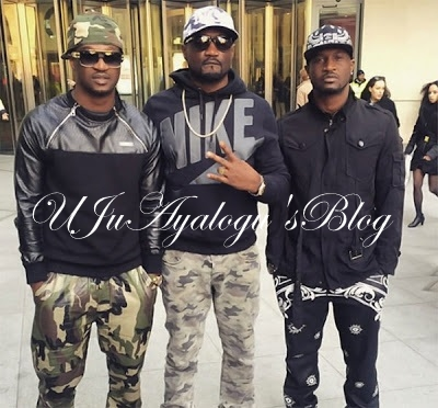 "VIDEO: ""Carry your coffin come"" - Psquare's Peter, Paul and Jude Okoye physically attack each other at their lawyer's office"