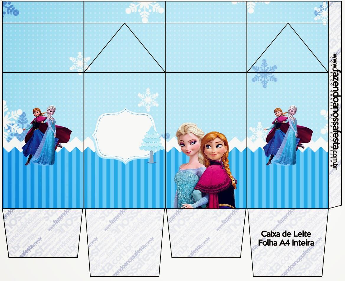 "Caja tipo ""de leche"" de Frozen en Navidad Azul."