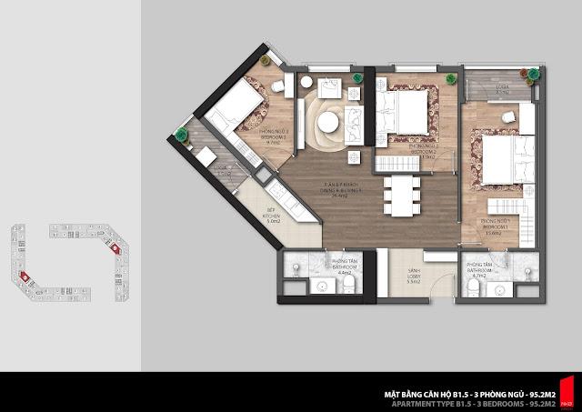 Thiết kế căn B1.5 - 95,2m2 chung cư The Emerald