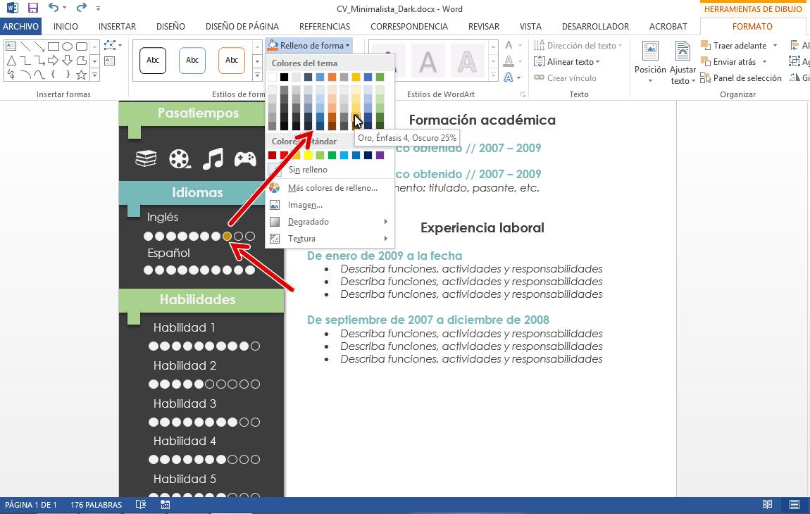 Plantilla CV minimalista Office Word | GUI-Box: recursos gráficos y ...