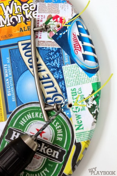 Drill holes to attach handles: DIY Beer Tray | DIY Playbook