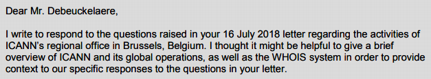 Marby Letter re ICANN Brussels regional office activities