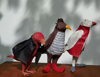 Papier à êtres : Trio d'oiseaux, Exposition « d'Inspiration Jérôme Bosch », Galerie de la Marraine