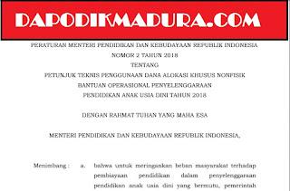 Dowload Juknis DAK  Nonfisik BOP PAUD/PAUDNI Tahun 2018