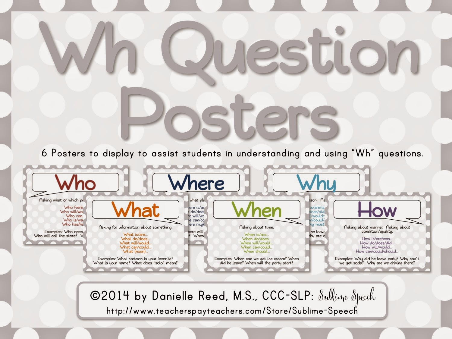 Speechie Freebies Wh Question Posters