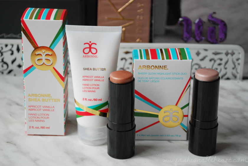 bbloggers, bbloggersca, canadian beauty bloggers, arbonne, arbonne canada, apricot vanilla hand lotion, cream, sheer glow, highlight stick duo, pearl, bronze, holiday 2016 collection, product review, swatch