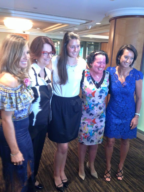 Mel Thomas,  Julia Gillard, Parrys Raines, Carly Findlay and Layne Beachley