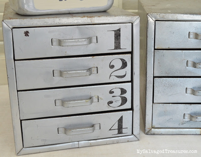 Flea market finds quickie projects, stenciled metal drawers