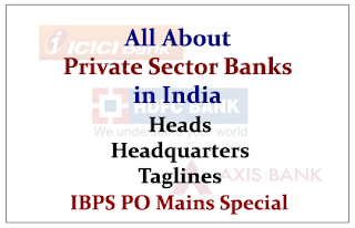 All About Private Sector Banks in India- Heads-Headquarters& Taglines (IBPS PO Mains Special)