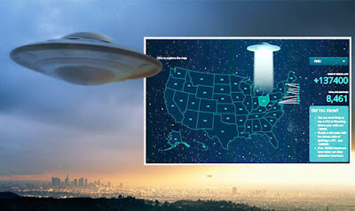 UFO sightings: A map of 78 years worth of UFO claims was compiled together.